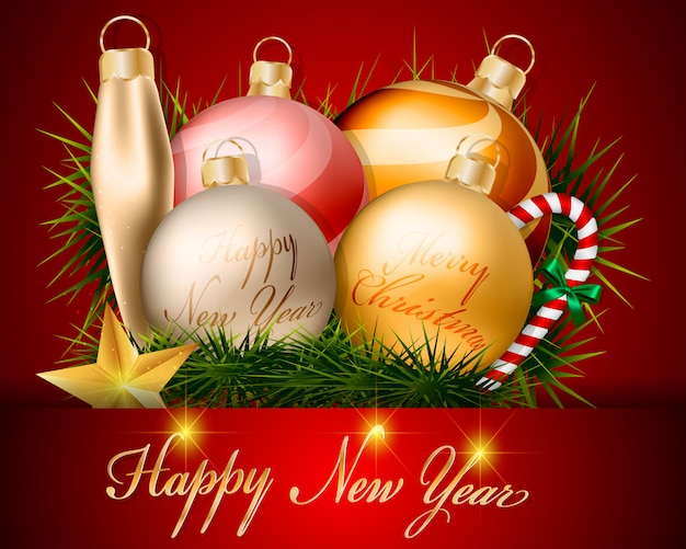 Christmas Balls Decorations And Accessories Design Vector Premium