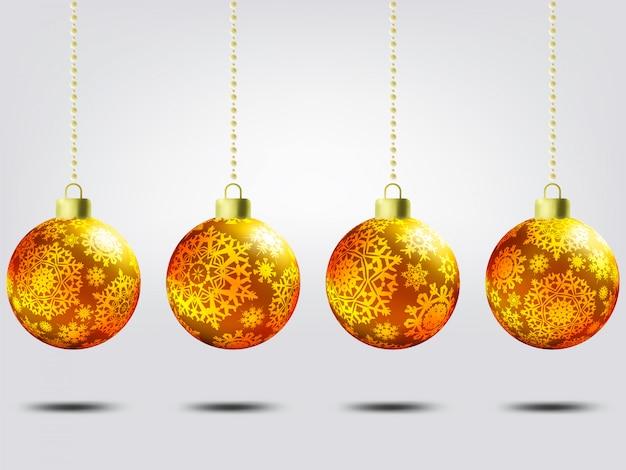 Christmas balls over elegant background. Premium Vector