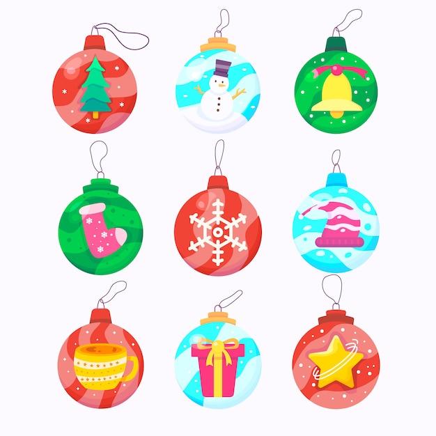 Christmas balls in flat design Free Vector
