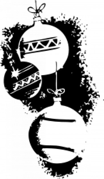 Christmas balls hanging in white and black Vector | Free Download