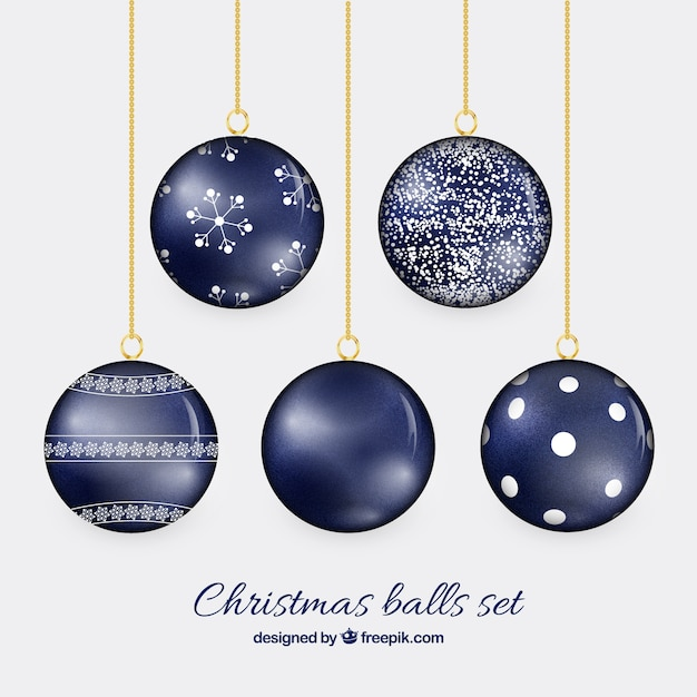 christmas balls in navy blue color free vector