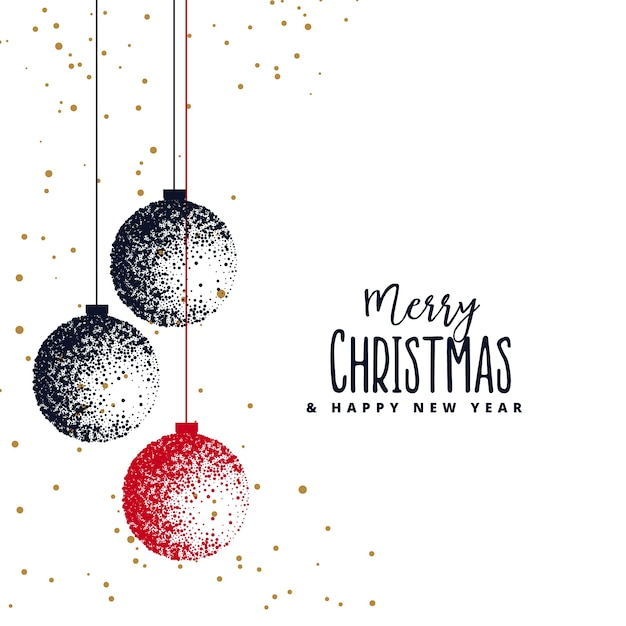 Christmas balls made with stipple on white background Free Vector
