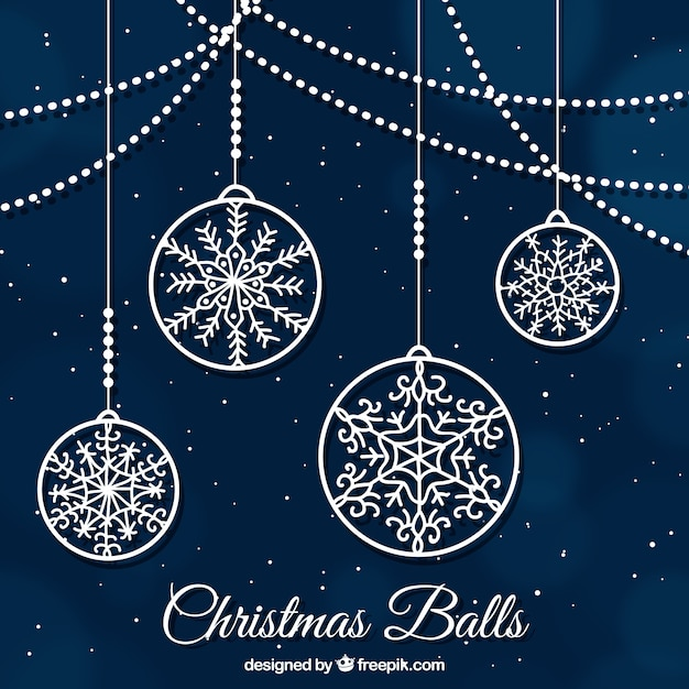 Christmas balls ornamental background Free Vector