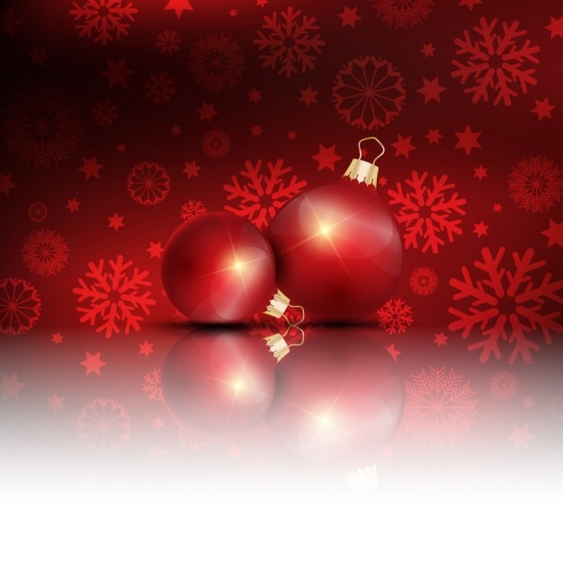 Christmas balls reflect on a red background Free Vector