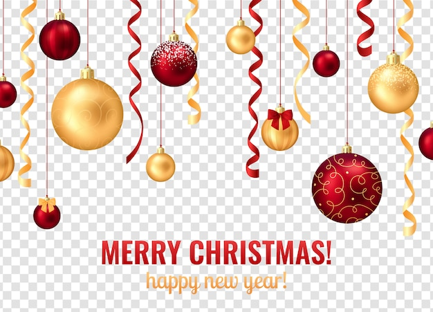 Christmas balls transparent background Free Vector