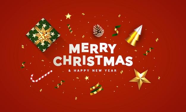 クリスマスバナー。背景リアルなギフトボックス、3dレンダリングコーン、ワインのボトル、金色の紙吹雪、装飾品のクリスマスデザイン。横長のクリスマスポスター、グリーティングカード、ウェブサイトのヘッダー Premiumベクター