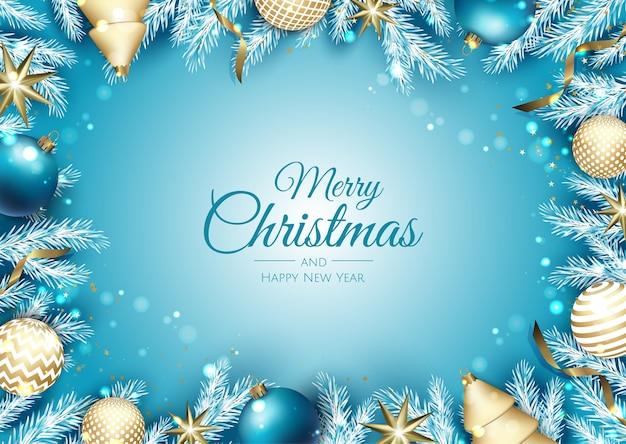 クリスマスバナー。ギフトボックス、スノーフレーク、紙吹雪の背景クリスマス。横長のクリスマスポスター、グリーティングカード、ヘッダー、ウェブサイト。 Premiumベクター