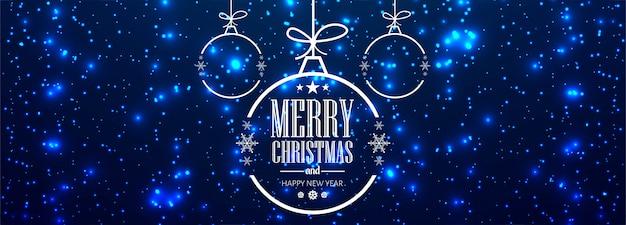 Christmas banner for christmas ball for shiny glitters Free Vector
