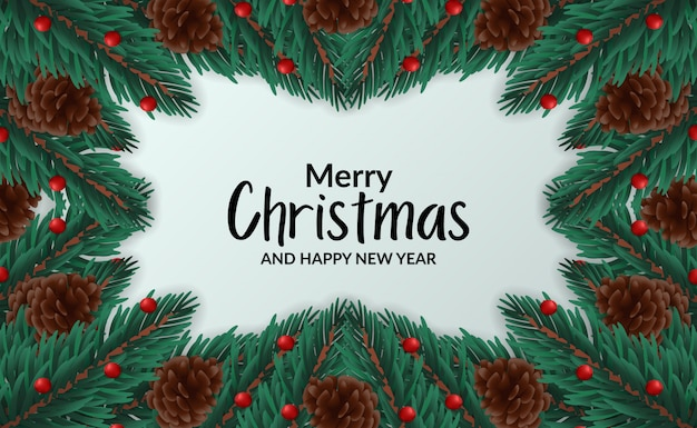 Christmas banner poster template with illustration of frame fir leaves garland with pine cone Premium Vector