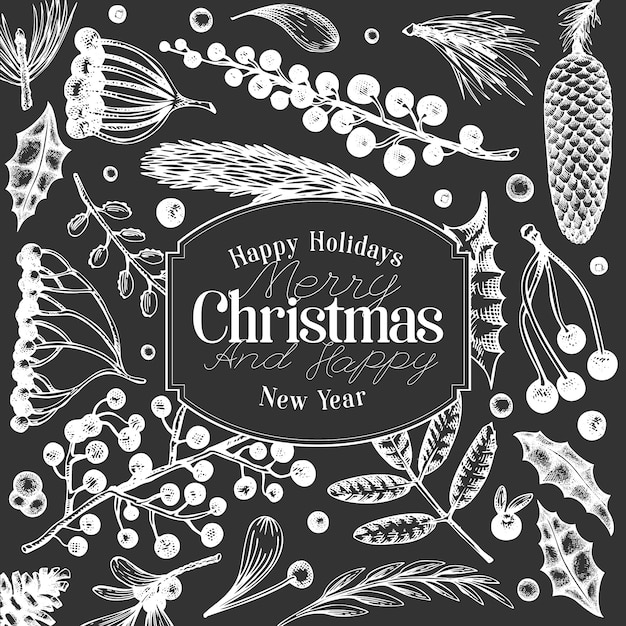 Christmas banner template. hand drawn illustrations on chalk board. Premium Vector