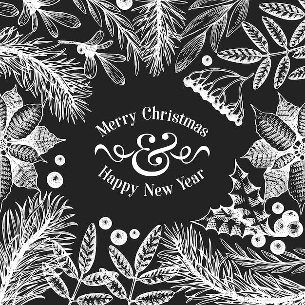 Рождественский баннер шаблон. вектор рисованной иллюстрации на доске мелом. Premium векторы