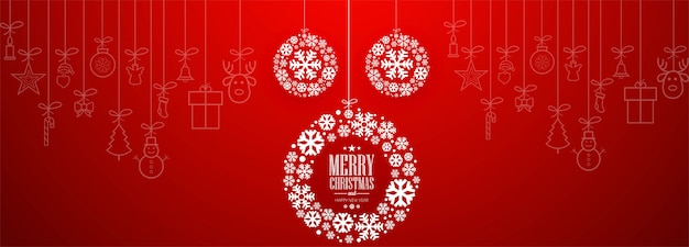 Christmas banner template with ornaments Free Vector