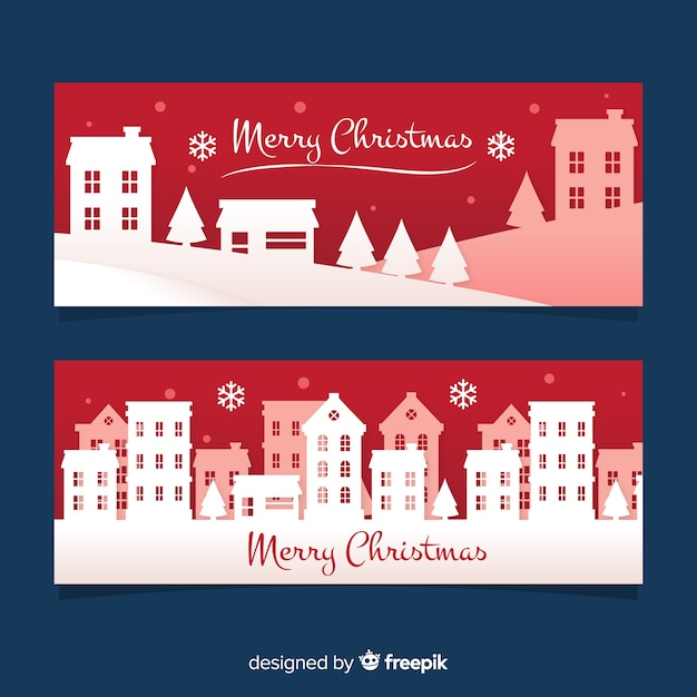 Christmas banner town silhouette Free Vector