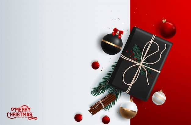 Christmas banner vector background template with merry christmas greeting typography and colorful elements like gifts and decorations Premium Vector