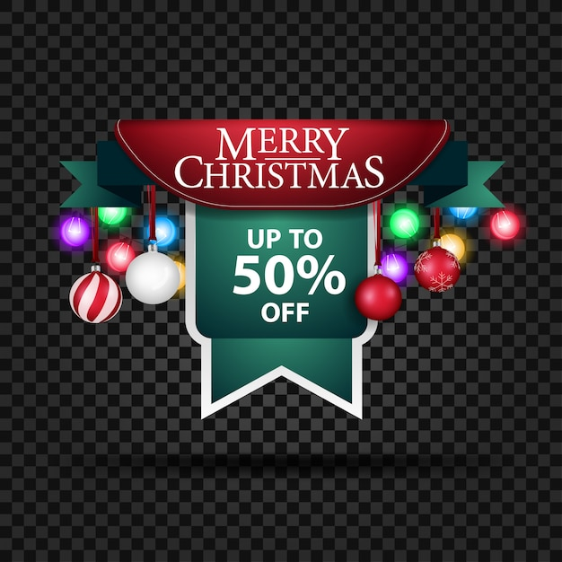 Christmas banner with christmas decorations and 50% discount Premium Vector
