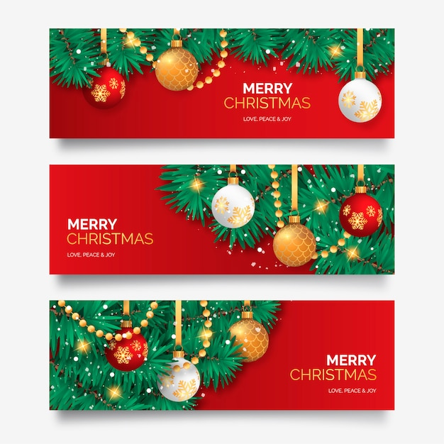 Christmas Banner.Christmas Banner With Elegant Decoration Vector Free Download