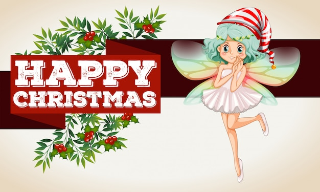 Christmas banner with fairy flying Free Vector