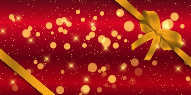 Christmas banner with gold ribbon Free Vector
