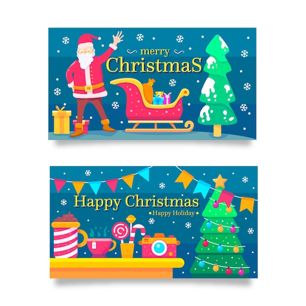 Christmas banners in flat design Free Vector