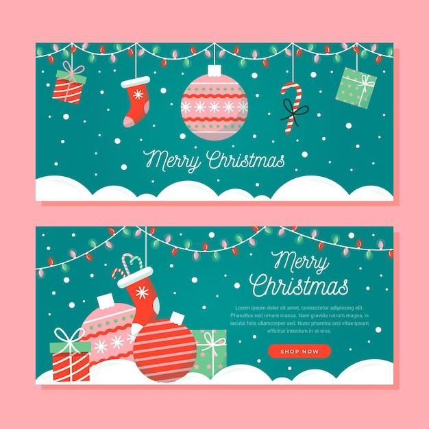 フラットなデザインのクリスマスバナー 無料ベクター