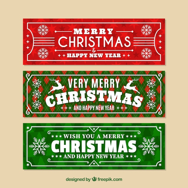 Christmas banners in green and red Free Vector