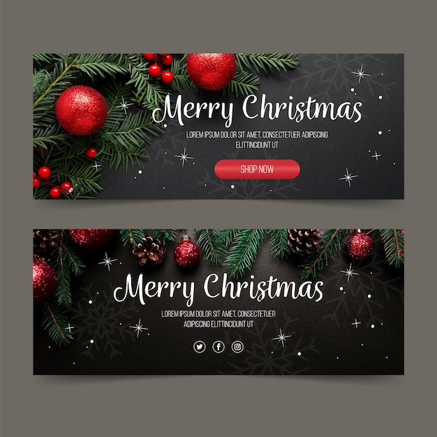 Christmas banners template with photo Free Vector