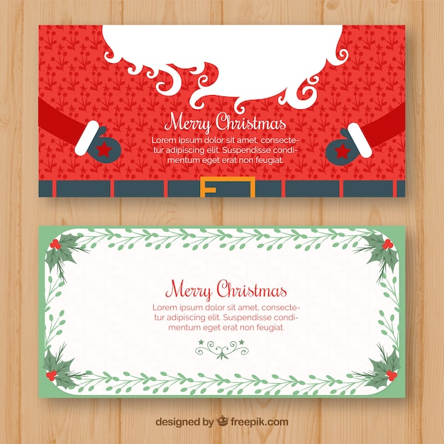Christmas banners with arms of santa