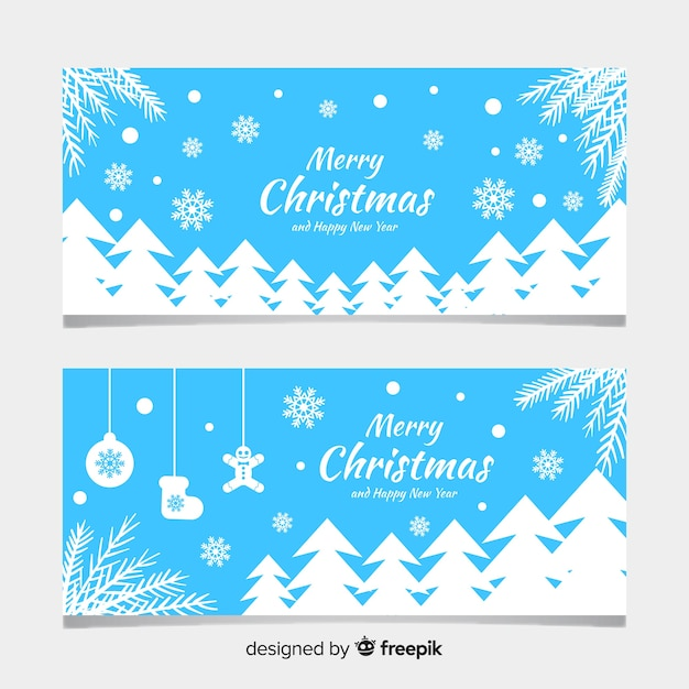 Christmas banners with flat design Free Vector