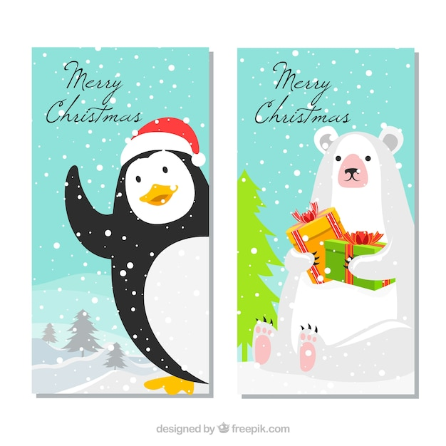 Christmas banners with funny penguin and polar bear