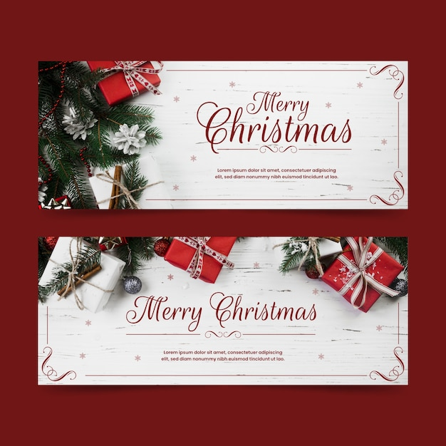 Christmas banners with gift boxes Free Vector