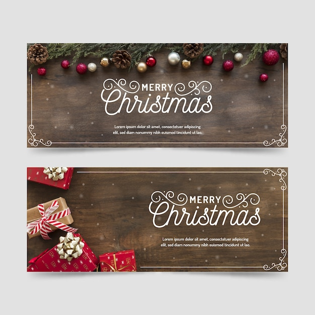 Christmas banners with gifts of wooden background Free Vector