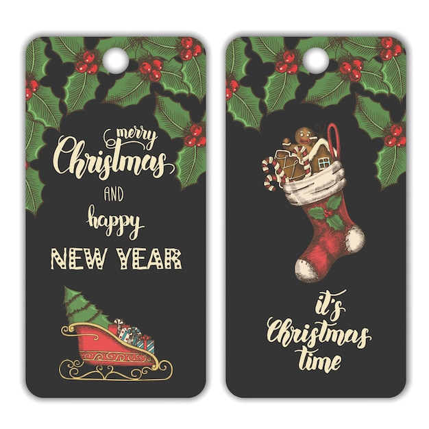 Christmas banners with mistletoe leaves Premium Vector