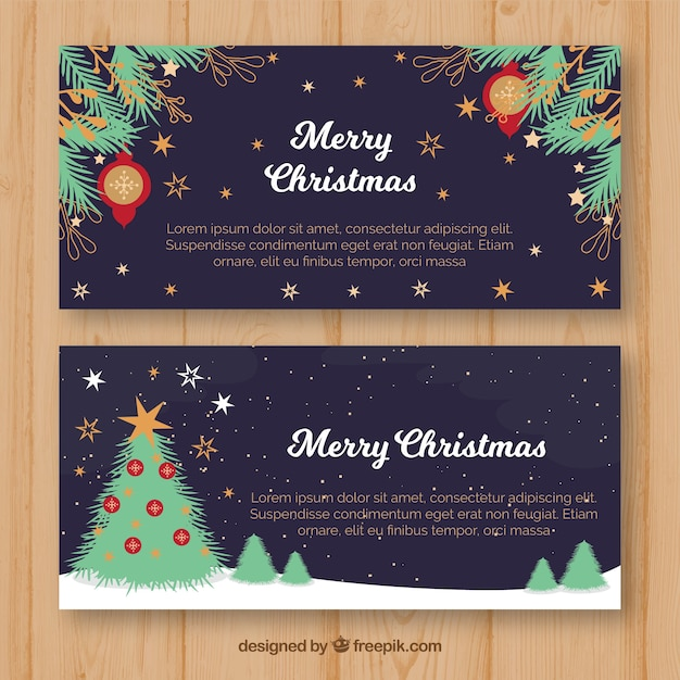Christmas banners with night scene