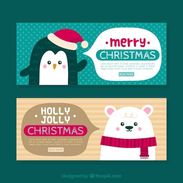 Christmas banners with penguin and polar bear