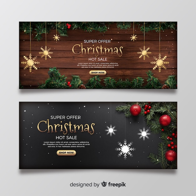 Christmas banners with photo Free Vector