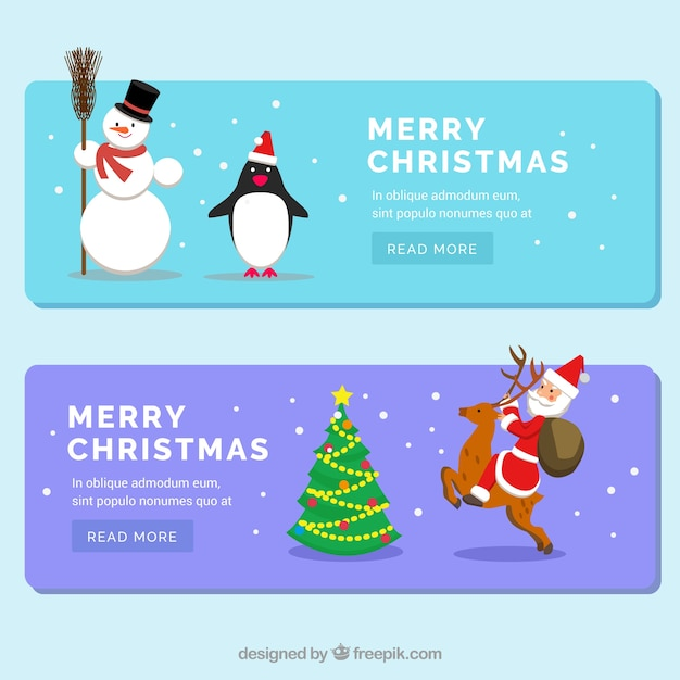 Christmas banners with santa claus and a snowman Free Vector