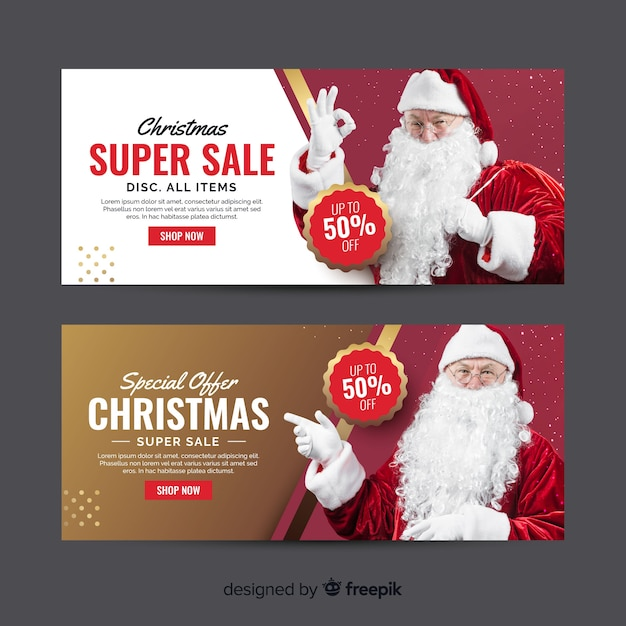 Christmas banners with santa claus Free Vector