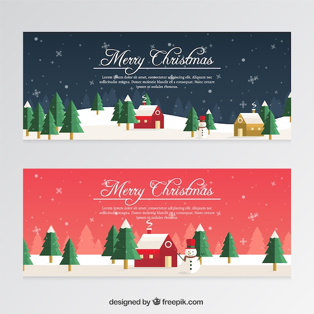 Christmas Banners Part - 40: Christmas Banners With Snowmen And Snowflakes In Flat Style Free Vector