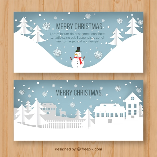 christmas banners with winter scenes free vector