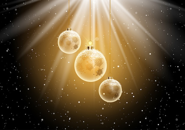 Christmas bauble background Free Vector