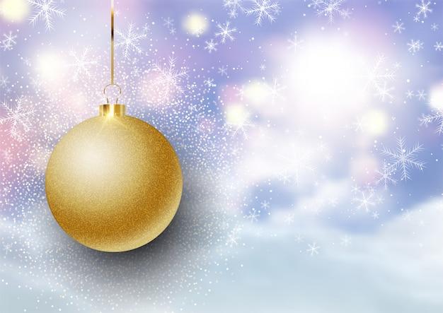 Christmas bauble on defocussed snowy landscape background Premium Vector