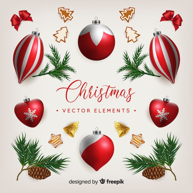 Christmas baubles  background Free Vector