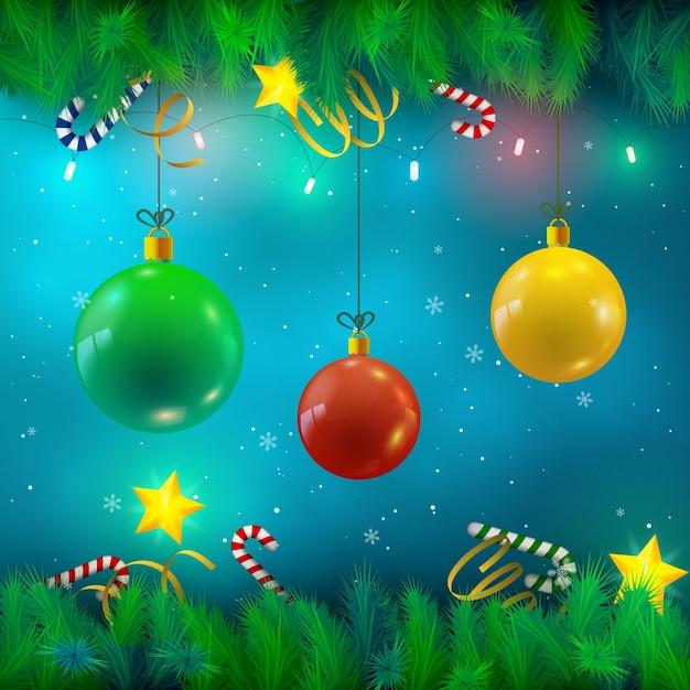 크리스마스 싸구려 전나무 나뭇 가지 리본 사탕 별 조명과 떨어지는 눈 그림 무료 벡터