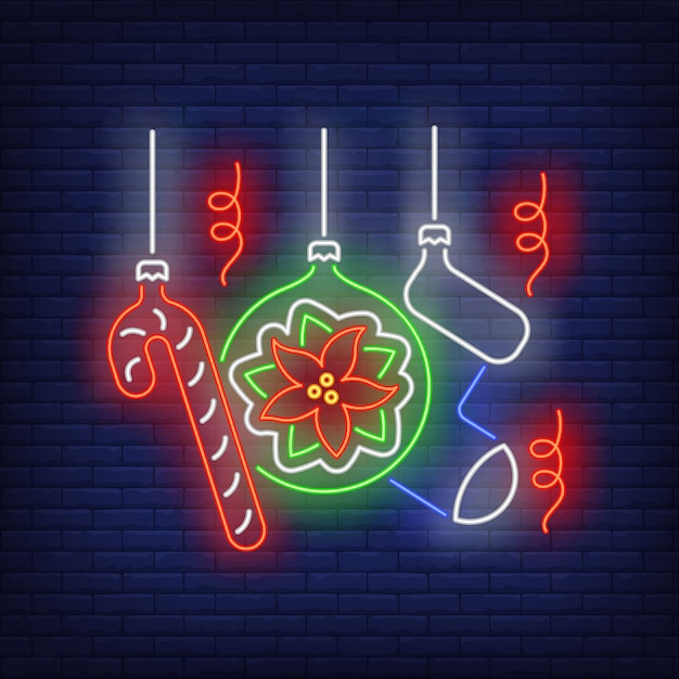 Christmas baubles neon sign Free Vector