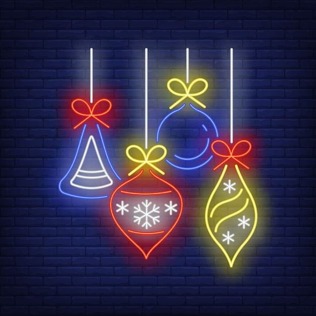 Christmas baubles in neon style Free Vector