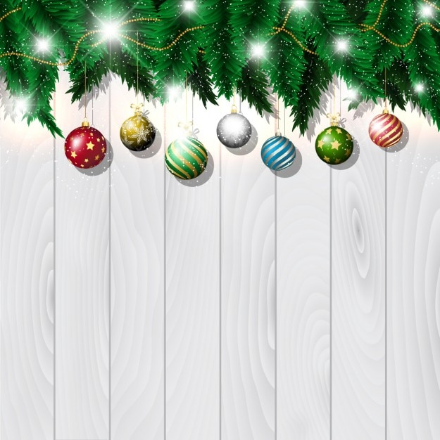 Christmas Wood Background.Download Vector Christmas Baubles On White Wood Background