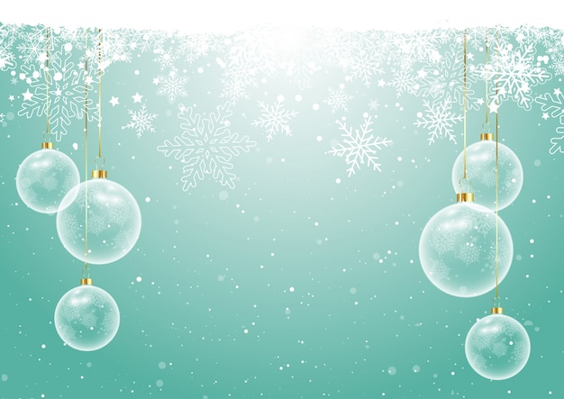 Christmas baubles on snowflake background Free Vector