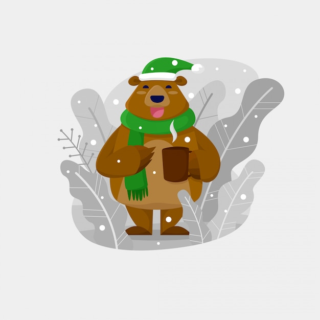 Christmas bear drinking hot chocolate outdoors Premium Vector