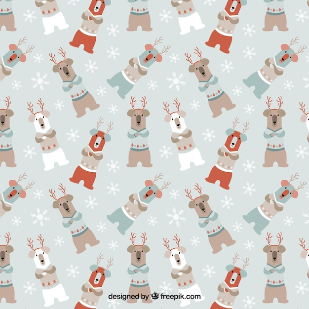 Christmas Bear Pattern Vector Free Download