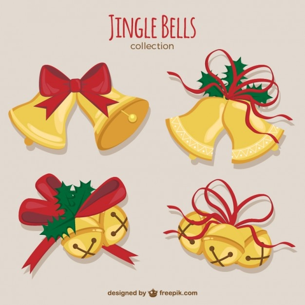 Christmas bells collection Free Vector